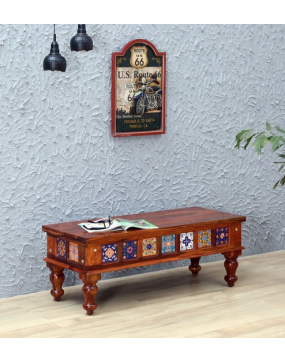 Siramika Solid Wood Bench in Honey Oak Finish by Mudramark